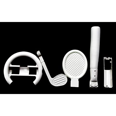 NEW 6-in-1 Kit for Nintendo Wii Sports Pack Wheel, Baseball, Golf Club, Tennis by Wii
