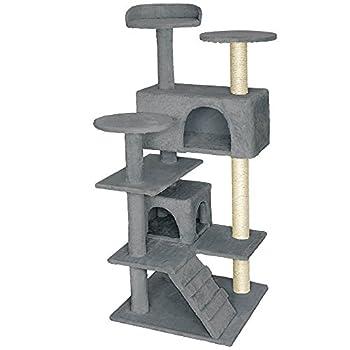TecTake Arbre á chat Griffoir Grattoir avec 2 grottes 132cm - diverses couleurs au choix - (Gris | No. 401771)