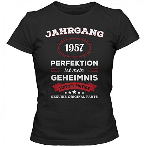 Jahrgang 1957 T-Shirt | Geburtstags-Shirt | Perfektion ist mein Geheimnis | 60. Geburtstag | Frauen | Shirt Schwarz (Deep Black L191)