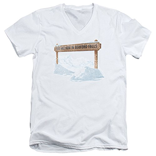 2Bhip It's A Wonderful Life Christmas Drama Bedford Falls Adult V-Neck T-Shirt Tee