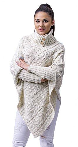 Glamour Empire Femme. Pull Poncho en maille épaisse torsadée. Cape Cardigan. 956 écru