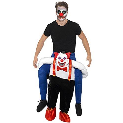 Oramics Halloween außergewöhnliches Horror Clown Kostüm für Erwachsene, Huckepack, Trag Mich Piggyback mit Beinen inklusive Schminke, Clown Maske, originelle Verkleidung und Kostümidee für Männer und Frauen (Kreative Halloween Kostüme Für Männer)