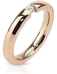 Paula & Fritz anillo de acero inoxidable de oro rosa con la piedra 3 mm de ancho disponible Ringrößen 47 (15) - 57 (18)