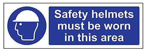 vsafety 41006Hausschuhe ax-r Sicherheit Helme zu tragen, in diesem Bereich Pflicht Schutzbekleidung Zeichen, starrer Kunststoff, Landschaft, 300mm x 100mm, blau