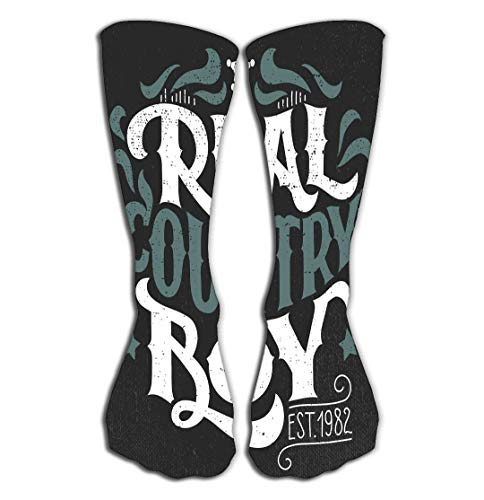 Xunulyn Hohe Socken Outdoor Sports Men Women High Socks Stocking real Country Boy Hand Lettering Design Poster Grunge Tile Length 19.7