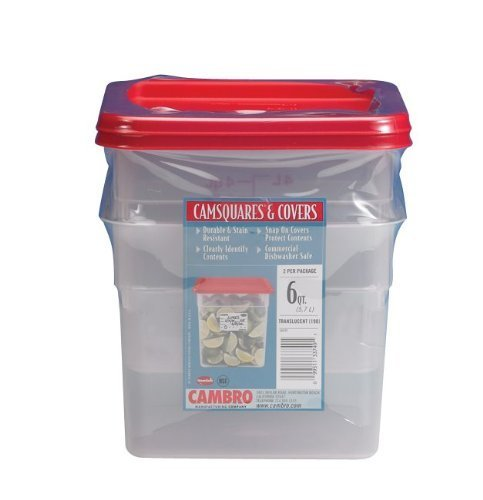 Cambro Set of 2 Square Food Storage Containers with Lids, 6 Quart by Cambro Square Food Storage Set