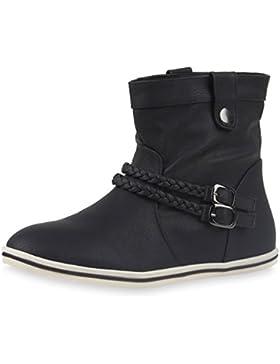 Sportliche Damen Stiefeletten Stiefel Flache Boots High & Low Top