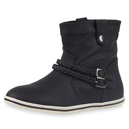 liche Damen Stiefeletten Stiefel Flache Boots High Low Top Damen Stiefeletten Schwarz Low 40 Jennika (Schwarze Kurze Stiefel)