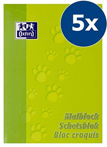 OXFORD 100050303 Malblock Schule 5er Pack A4 blanko 100 Blatt 90 g/m² hellgrün Papierblock Schulblock Zeichenblock 100% Oxford