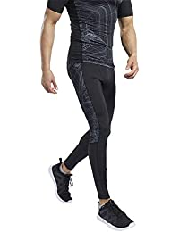 Reebok TS AOP Compression Tight Mallas, Hombre, Negro, L
