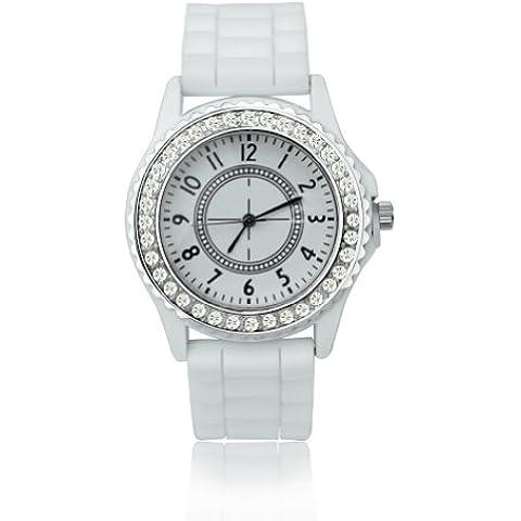 Blanco Cristal Brillante Reloj Cuarzo de Pulsera Correa de Silicona Unisex