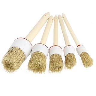 UxradG 5 Stück Auto-Detailing-Bürste, Weiches natürliches Schweineborsten, Holzgriff-Bürsten für die Reinigung von Lüftungsschlitzen, Armaturenbrett, Verkleidungssitzen, Räder