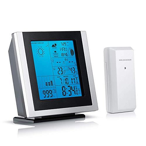 Brandson – Stazione meteorologica con sensore Esterno 301519 | Temperatura Interna ed Esterna/igrometro/Sveglia ECC. Illuminazione del Display a LED in Blu