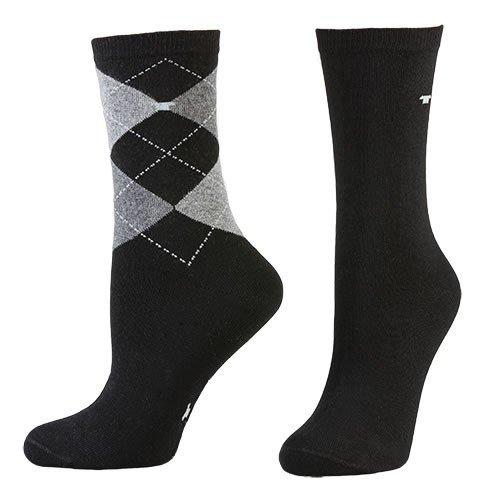 Tom Tailor 2er Pack Argyle Women Socks 9879 schwarz Doppelpack Strümpfe Socken Raute-ndesign + uni 2 Paar, Größe:35-38 (2 Argyle-socken)