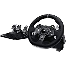 Logitech G920 Driving Force Racing Wheel and Floor Pedals, Real Force Feedback, Stainless Steel Paddle Shifters, Leather Steering Wheel Cover, Adjustable Floor Pedals, UK-Plug, Xbox One/PC/Mac - Black