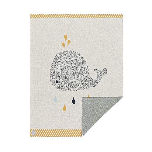 LÄSSIG Baby Krabbeldecke Strickdecke Spieldecke Schmusedecke Kuscheldecke GOTS zertifiziert weich/Baby Blanket Little Water Whale - Bio-baumwolle Cami