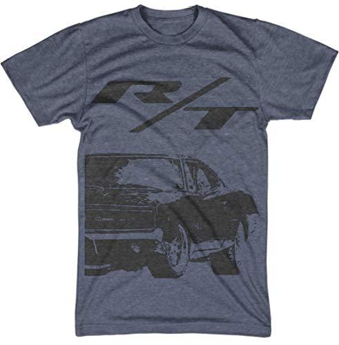 Heathered T-shirt (Dodge Charger Retro Grunge Heathered T-Shirt #1977 (L, Heather Navy))