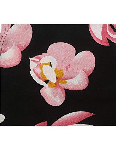 82160c2ca2a2 MODETREND Donna Vestiti Manica a 3 4 Elegante Stampato Floreale Abito con  Cintura Giuntura Pannello Esterno dell anca Pacchetto Abiti Vestito da  Matrimonio ...