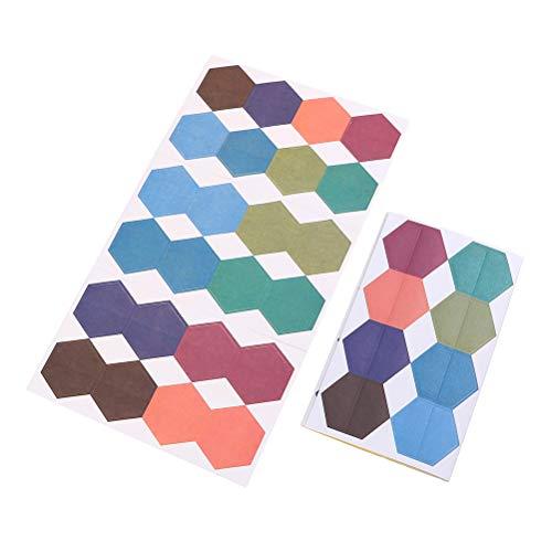 2 Bögen Papiermarken Index Tabs sechseckige Etikettenaufkleber bunte Versiegelungsaufkleber für Index, Etikett, Flasche, Deko Aufkleber 10 Sheets