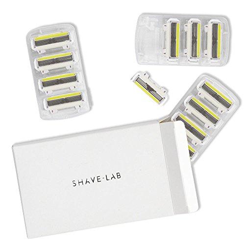 SHAVE-LAB - 12 Rasierklingen für Körperhaare - (12x P.L.4 Klingen für Damen mit 4 Lamellen und Pflegestreifen - Ladyshave & Intimpflege)