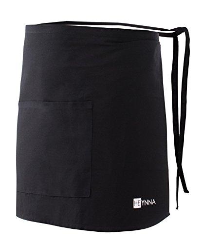 HEYNNA ® Premium Vorbinder Küchenschürze 100% Baumwolle belastbar & einfach zu reinigen - perfekt auch als Gastronomie Schürze und Kellnerschürze (schwarz)