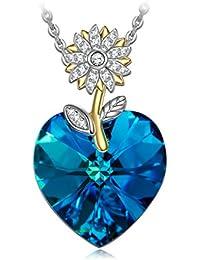 """NINASUN """"Floreale di Girasole"""" 925 Argento Sterlina Collana Pendente Donna Capri Blu Realizzato con Cristalli SWAROVSKI®"""