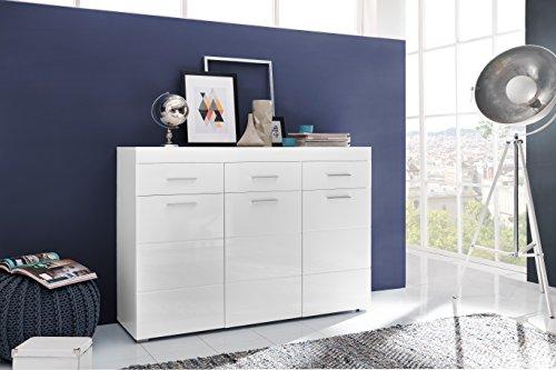 trendteam ADGD86601 Kommode Garderobenschrank Weiß Hochglanz, BxHxT 137x97x41 cm - 3