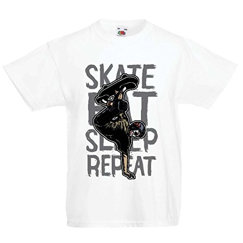 lepni.me Kinder T-Shirt Eat-Sleep-Skate-Repeat Fro Skateboard Liebhaber, Skateboarder Geschenke, Skateboarden Kleidung (7-8 Years Weiß Mehrfarben)