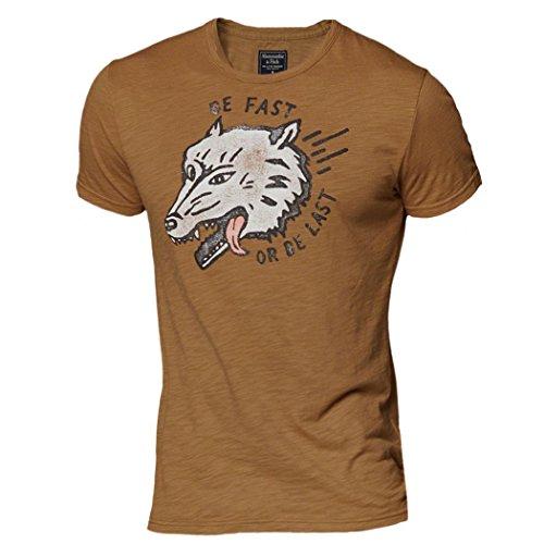 Abercrombie & Fitch -  T-shirt - T-shirt  - Collo a U  - Maniche corte  - Uomo Gold Small