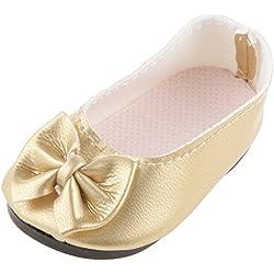 1Par Juguete Zapatos Planos Arco para Muñecas 18 Pulgadas Color Oro