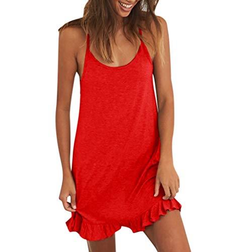 iHENGH Damen Sommer Rock Lässig Mode Kleider Bequem Frauen Röcke Womens Holiday Lace Up Damen Sommer Pomisi rückenfreies Beach Party Kleid(Rot, M)