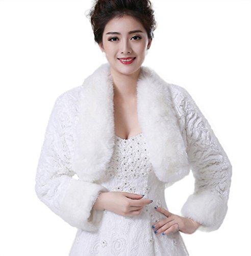 Jungen da donna in pelliccia sintetica wrap cappotto mantella coprispalle per l' inverno caldo abito da sposa (rosso), white, m
