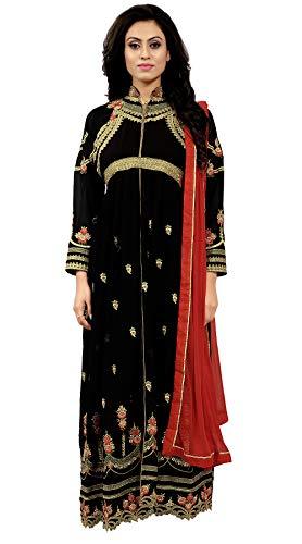 Ethnic Yard Women's Black Faux Georgette Semi-Stitched Anarkali Salwar Suit (EY-F1195)