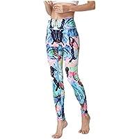 Hukangyu1231 Pantalones de Yoga de Bolsillo de Cintura Alta. Ej Pantalones de Yoga Estampados elásticos de Las Mujeres Que Adelgazan los Pantalones Ajustados de la Aptitud
