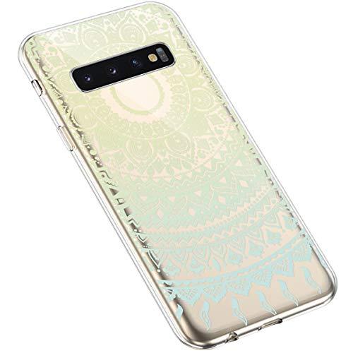 Uposao Kompatibel mit Samsung Galaxy S10 Handyhülle Transparent TPU Silikon Schutzhülle Bunte Gemalt Muster Durchsichtig Case Crystal Clear Handytasche Anti-Kratzer Stoßfest,Blumen Blau