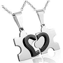 Jstyle Gioielli in Acciaio Inossidabile Collana Puzzle Con Ciondolo Cuore Spezzato Per Amicizia e Amore da Donna e Uomo