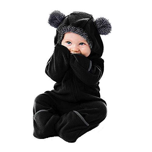Combinaison Bébé Garçon Hiver DAY8 Pyjama Garçon Automne Grenouillère Bébé Fille 0-24 Mois Vêtements Bébé Fille Naissance Body Unisexe Bébé Barboteuse Nouveau Né Fille (60(0-3 Mois), Noir)
