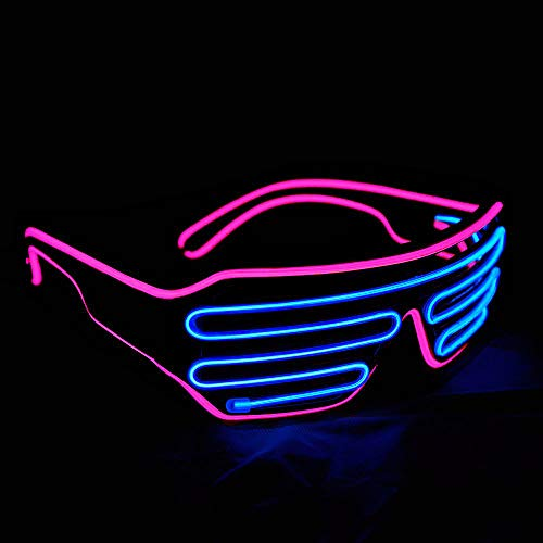 Dream Loom LED-Brille zum Leuchten, Shutter Neon Rave Flashing Brille EL Wire LED Sonnenbrille Glow DJ Kostüme für Party (Pink + Blau)