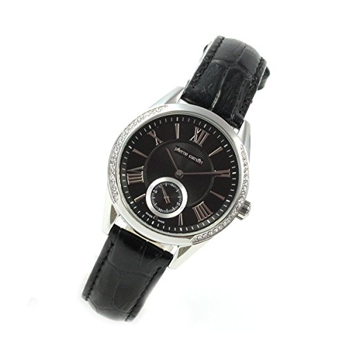 Pierre Cardin Classic Black Piel Segundero pequeño Mujer Reloj Swiss Made pc106302s01