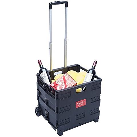 DXP Carretilla de las compras del cajón plegable hasta 35 kg contenedor con ruedas WS-01