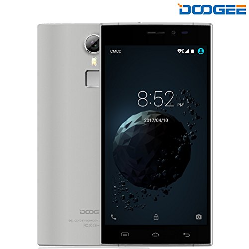 DOOGEE F5 Telefonos Moviles Libres Baratos - 4G Android 5.1 - MT6753 Octa-Core - 3GB RAM + 16GB ROM - 5.5 Pantalla HD IPS - 5.0MP + 13.0MP Cámara - Dual SIM - Batería de 5V 2A, 3000mAh (Gris)