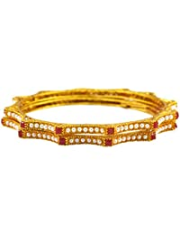 Rejewel Gold Plated Kada With Red Stones For Women Size 2.6