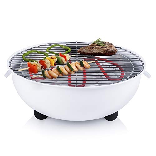 Barbecue électrique Tristar BQ-2882 - Barbecue de table - Design rond - Blanc