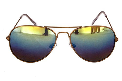 Foster Grant FG27 Unisex Aviator Style Sonnenbrille Gold Metal Arms & Rahmen, Silikon Covered Arm Ends Rainbow Spiegellinsen CAT 2 (Aviator Foster Grant Sonnenbrille)