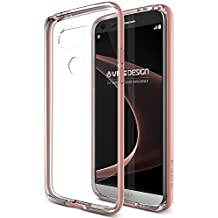 Coque LG G5, VRS Design [Crystal Bumper][Or Rose] Anti Choc Silicone Protection Housse Etui Transparent Gel Pour LG G5
