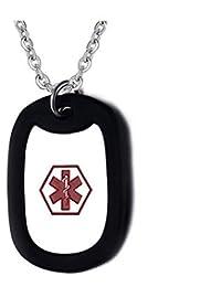 Para Hombre Del Estilo Del Collar Del Ejército Del Acero Inoxidable Pendientes En Forma De Identificación De Alerta Médica