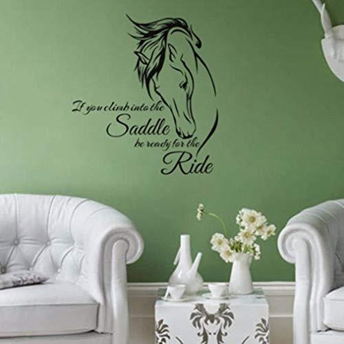wandaufkleber 3d Pferd Aufkleber Zitat Sattel Fahrt Wohnzimmer Wand Wohnkultur für Jungen Schlafzimmer Wohnzimmer