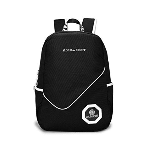 Go Further Preppy-Stil mit dem Buchstaben Mittelschülerin blauen Rucksack für Mädchen Schwarz