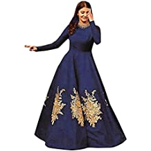 Siddeshwary Fab Women's Navy Blue Taffeta Silk Embroidered Gown for Women ( Navy blue )