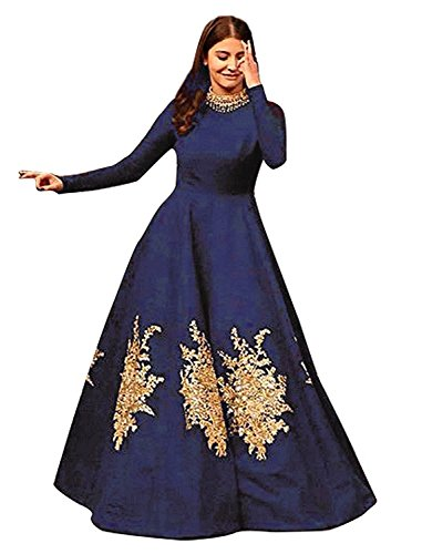 Siddeshwary Fab Women's Navy Blue Taffeta Silk Embroidered Gown for Women (...